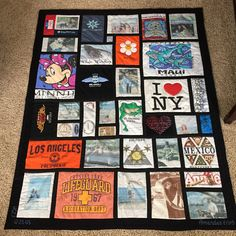 A great example of a T-shirt memory quilt.