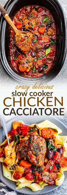 Crock Pot Chicken Cacciatore – an easy slow cooker meal loaded with tender chicken, tomatoes, bell peppers, kale, carrots and sliced mushrooms. Hearty, comforting and bursting with flavor. Best of all, this delicious Italian inspired recipe is so easy to customize with your favorite vegetables. With just 10 minutes of prep time making this perfect for busy weeknights or Sunday meal prep! #slowcooker #crockpot #chicken #comfortfood #easy #weeknight #dinner