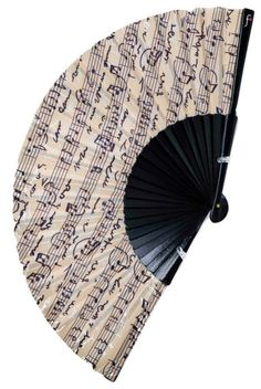 WIND INSTRUMENT | vintage style musical notes | perfect for an evening at the opera | designer hand fan made from cherry wood and cotton fabric