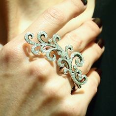 """Rococco"" Diamond Two Finger Ring - Plukka - Shop Fine Jewelry Online"
