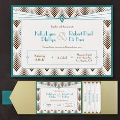 Occasions to Blog: Great Gatsby Wedding Ideas (Invitation Link - http://occasionsinprint.carlsoncraft.com/3254-TWSN33568A-Diamond-Delight--Layered-Pocket-Invitation.pro)