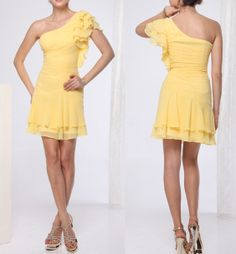 Cheap short Bridesmaid dress, yellow short chiffon prom dress, on Etsy, $89.00