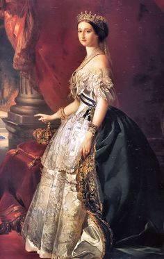 """Empress Eugenie made news all over Europe when she wore a green gown (I believe the one in the painting) that had, for the FIRST time, a green dye in the fabric that did not appear to """"fade"""" and loose its color under gas light (ie, at night). This was big news in the world of fashion, and a HUGE coup for the dye manufacturer that came up with the pigment."""