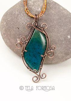 Chrysocolla gem silica malachite pendant wire wrapped by Tela Formosa.