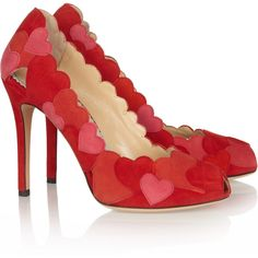 Charlotte Olympia Love Me heart-appliquéd suede pumps ($540) ❤ liked on Polyvore featuring shoes, pumps, peep toe shoes, high heel pumps, peeptoe shoes, suede peep toe pumps and suede shoes