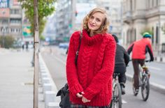 Winter street style wearing a cozy knitted stweater