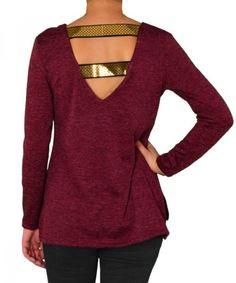d40e1e35a3d9 Γυναικεία μακρυμάνικη μπλούζα Coocu μπορντό με παγιέτες 39867R  torouxo   γυναικειαρουχα