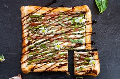Prosciutto Wrapped Asparagus Puff Pastry Tart w/ Whipped Ricotta