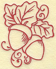 Acorns with leaves Redwork Outline | Machine Embroidery Design or Pattern