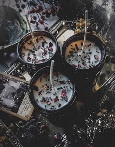 We 💙 these Herbal Candles by . Skip the chemical fragrance oils and scent your candles the natural way with dried herbs. Dried lavender and rose petals + just a little lavender oil = HEAVEN. Candle Magic, Candle Spells, Magick, Witchcraft, Wiccan Spells, Magic Spells, Foto Fantasy, Witch Aesthetic, Aesthetic Dark