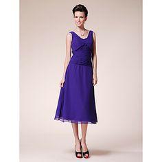 A-line V-neck Tea-length Chiffon Mother of the Bride Dress – USD $ 129.99