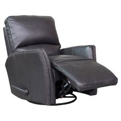 Barcalounger Cordoba Swivel Glider Recliner in Leather Gray - 84555570095