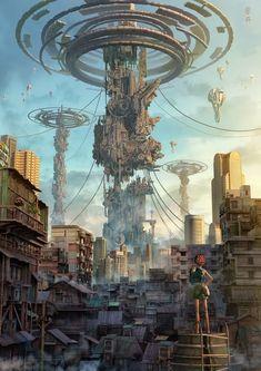 The Area Concept Art SteamPunk Fashion Sci-Fi Art environment Arte Cyberpunk, Cyberpunk City, Futuristic City, Cyberpunk Anime, Futuristic Architecture, Fantasy Places, Sci Fi Fantasy, Fantasy World, Arte Sci Fi