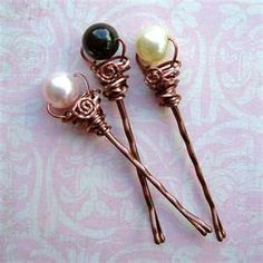 bobby pins with beads and wire