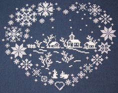 Magical world of Cross Stitch: Winter in love heart (scheme for cross stitch)