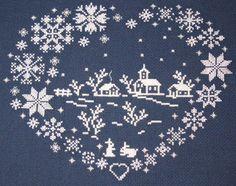 Magische wereld van Cross Stitch: De winter in de liefde hart (regeling voor de kruissteek)
