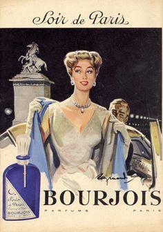old French advertising Paris Vintage, Pub Vintage, Vintage Glam, Vintage Beauty, Vintage Fashion, Bourjois Perfume, Perfume Ad, Perfumes Vintage, Vintage Makeup