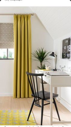 Love the pattern on the blinds against the yellow curtains! What a lovely shade of yellow!