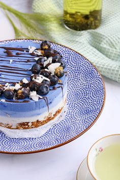 Spectacular blue breakfast cake that anyone can make! - Oh My Pie! - Gluten-free breakfast cake with a cool blue color! Raw Food Recipes, Gourmet Recipes, Sweet Recipes, Cake Recipes, Brunch, My Pie, Vegan Pie, Breakfast Cake, Free Breakfast