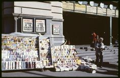 Old newspaper stand at Flinders St station. It's now been moved opposite. 1980s. Melbourne Australia