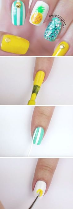 Easy Summer Pineapple Nails | 18 Easy Summer Nails Designs for Summer | Cute Nail Art Ideas for Teens (Easy Hair For Teens)