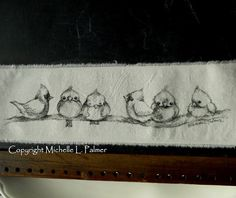 Original pen & ink illustrations on fabric.  This is not a reproduction~ each fabric piece is one of a kind, ideas taken from my sketch journals.
