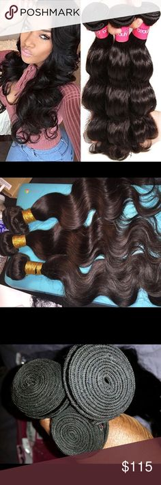 """14""""16""""18"""" Brazilian body wave 3 Bundles 300 grams Brazilian body wave natural black/1B 100% human hair can be dyed, bleached and flat ironed. Accessories Hair Accessories"""