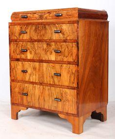 Art Deco Figured Walnut Chest Of Drawers | 397292 | Sellingantiques.co.uk