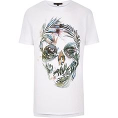 River Island White floral skull print longline T-shirt ($22) ❤ liked on Polyvore featuring men's fashion, men's clothing, men's shirts, men's t-shirts, white, mens white crew neck t shirts, mens cotton shirts, mens short sleeve shirts, mens white t shirts and mens white short sleeve shirt