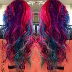 Pink, blue, purple hair