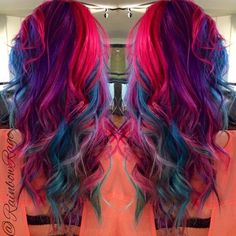 Pink, blue, purple hair
