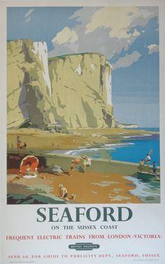 Vintage Railway Travel Poster Seaford Sussex, UK Illustration by Frank Sherwin 1955 Posters Uk, Train Posters, Railway Posters, Illustrations And Posters, Tourism Poster, Art Graphique, Vintage Travel Posters, Illustrators, Retro