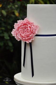 """Pink Peony Wedding Cake"" - by LayersandCrumbs @ CakesDecor.com - cake decorating website"