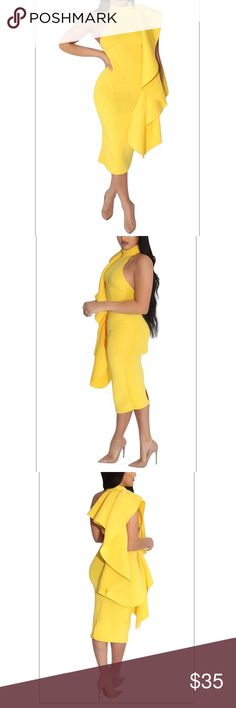"""Mandarin Collar Midi Dress NWOT Beautiful yellow twilled satin mandarin collar sleeveless asymmetrical mid calf dress; fabrics is not thin and flows nicely; fabric also stretches but does not lose shape; Bust 38.5"""", Waist 30.7"""", Hip 38"""", Length 38"""" Dresses Asymmetrical"""