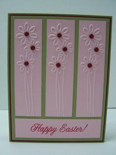 Stampin Up Handmade Greeting Card: Easter Card, Happy Easter, Easter Greetings, Spring, Embossed, Flowers