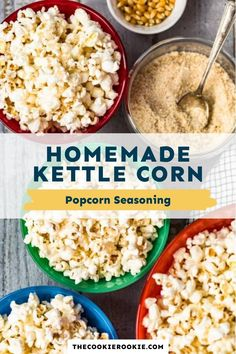 This homemade kettle corn recipe is the perfect balance of sweet and salty and is made with just three ingredients.  #snack #popcornseasoning #sweetandsalty #kettlecorn #movienight #gamedaysnack Kettle Corn Seasoning Recipe, Popcorn Seasoning, Corn Recipe, Game Day Appetizers, Game Day Snacks, Game Day Food, Kettle Corn Popcorn, Homemade Kettle Corn, Snack Recipes