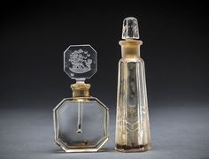 VINTAGE CZECH & FRH CLEAR GLASS PERFUME BOTTLE, C. 1930