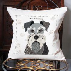 Mini Schnauzer personalised dog cushion cover by SimonHartArtist
