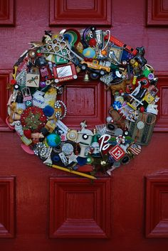 Repurpouse Wreath: use collectibles, knick knacks, and items special to you to create a door hanging