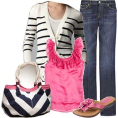 hot pink, navy stripes