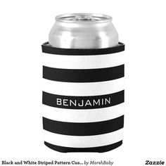 Black and White Striped Pattern Custom Name Can Cooler. Cool Gift Ideas.