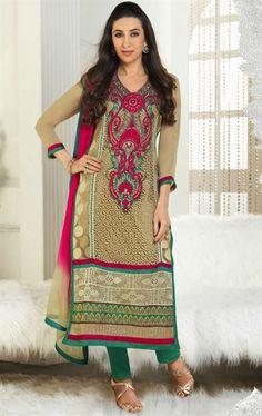 Picture of Vivacious Beige Color Salwar Kameez for Wedding