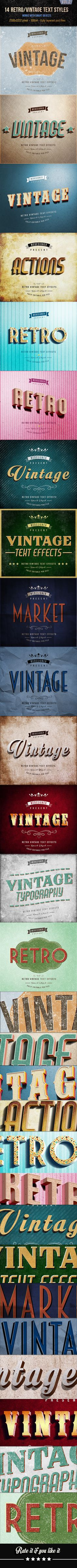 14 Retro / Vintage Text Effects V.2 - Download…