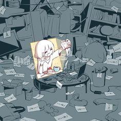 Mysterious Illustrations Of Mental Struggles By Japanese Artist Avogado6 - 9GAG Dark Art Illustrations, Illustration Art, Sad Anime, Anime Art, Dessin Old School, Drawing Feelings, Sun Projects, Vent Art, Arte Obscura