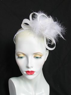 White sinamay and feather fascinator - headband fixing - wedding races hat