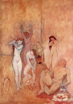 The Harem, 1906 by Pablo Picasso, Rose Period. Pablo Picasso, Kunst Picasso, Art Picasso, Picasso Blue, Picasso Paintings, Rose Paintings, Klimt, Picasso Rose Period, Cleveland Museum Of Art
