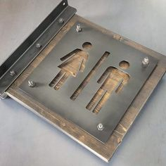 Perfect restroom sign for any business! Wood measures tall x long. Steel measures These signs are double sided to be seen from both directions. Industrial Signs, Vintage Industrial Furniture, Industrial Lamps, Reclaimed Furniture, Metal Wood, Metal Art, Diy Bathroom Decor, Bathroom Signs, Decorating Bathrooms