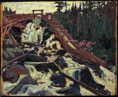 Tom Thomson, Timber Chute, fall 1915 - Art Gallery of Ontario Canadian Painters, Canadian Artists, Emily Carr Paintings, Group Of Seven Paintings, Tom Thomson Paintings, Art Gallery Of Ontario, Country Art, North Country, Canada Images