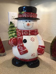 "Hand painted snowman cookie jar black top hat holding tree 12.5"" x 8.5"" new"