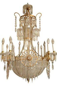 Antique Russian bronze & crystal chandelier